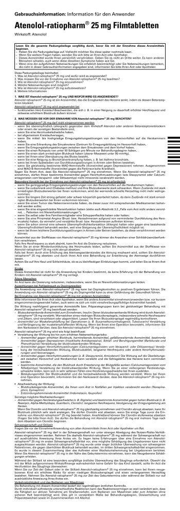 Atenolol-ratiopharm® 25 mg Filmtabletten - pharma-fuchs.de