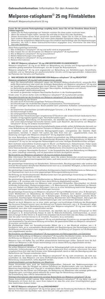 Melperon-ratiopharm® 25 mg Filmtabletten - pharma-fuchs.de