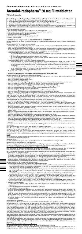 Atenolol-ratiopharm® 50 mg Filmtabletten - pharma-fuchs.de
