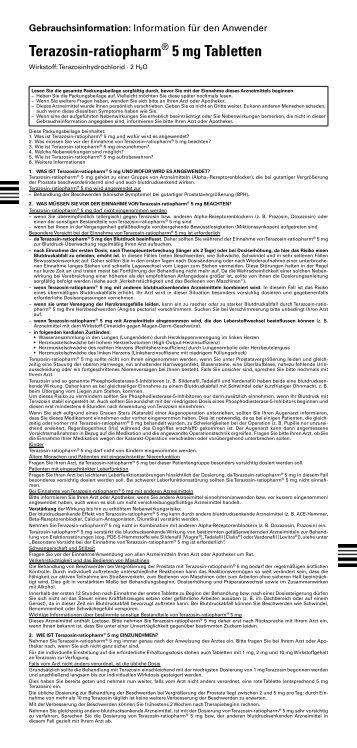 Terazosin-ratiopharm® 5 mg Tabletten - pharma-fuchs.de