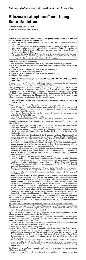 Alfuzosin-ratiopharm® uno 10 mg Retardtabletten - pharma-fuchs.de