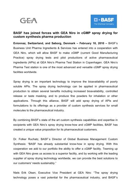 BASF has joined forces with GEA Niro in cGMP spray drying for