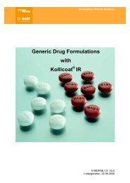 Generic Drug Formulations with Kollicoat IR - Pharma Ingredients ...