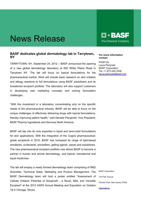 Read more - Pharma Ingredients & Services BASF