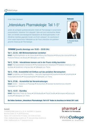 """""""Intensivkurs Pharmakologie: Teil 1-5"""" - pharma4u"""