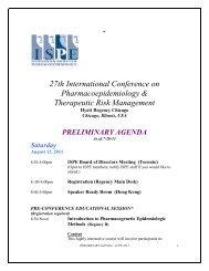 preliminary agenda - International Society for Pharmacoepidemiology
