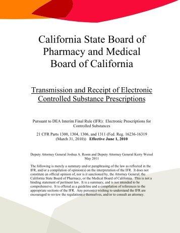 E-Prescribing of Controlled Substances - Board of Pharmacy