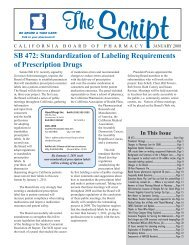 Standardization of Labeling Requirements - Board of Pharmacy