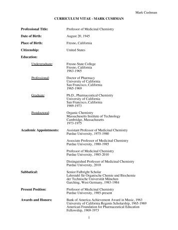Curriculum vitae for mark cushman - Purdue College of Pharmacy ...