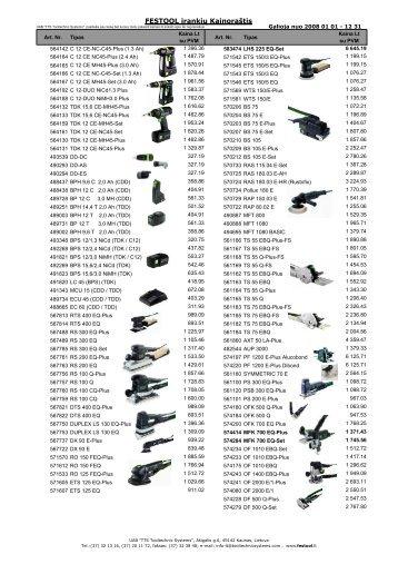 Festool tik ÄĘrankių kainos 20080101 su pav