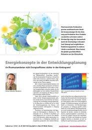 Energiekonzepte in der Entwicklungsplanung - Pharmaserv