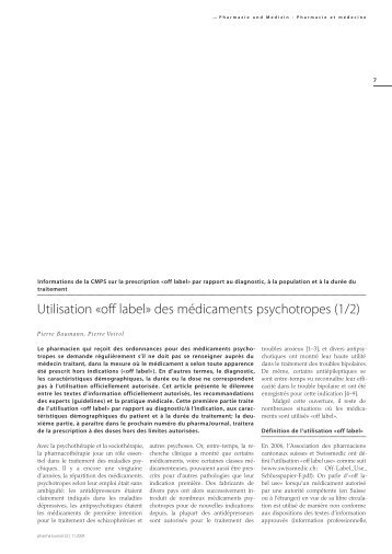 off label» des médicaments psychotropes - pharmaSuisse