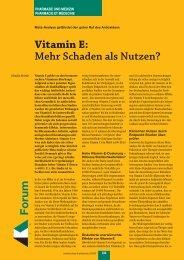Vitamin E: Mehr Schaden als Nutzen? Forum - pharmaSuisse
