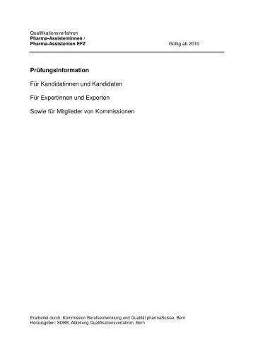 Prüfungsinformation_QV Pharma_Assistentinnen EFZ - pharmaSuisse