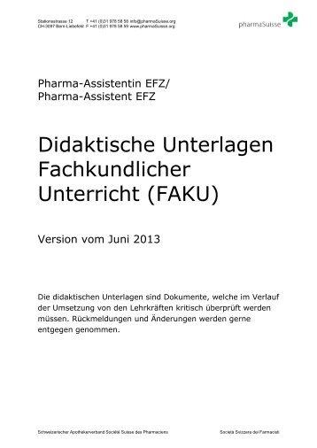 Didaktische Unterlagen Fachkundlicher Unterricht ... - pharmaSuisse