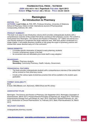 Remington an Introduction to Pharmacy-ABI - Pharmaceutical Press