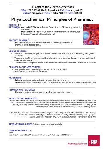 Physicochemical Principles of Pharmacy - Pharmaceutical Press