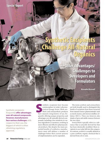 Synthetic Excipients Challenge All-Natural Organics Synthetic ...