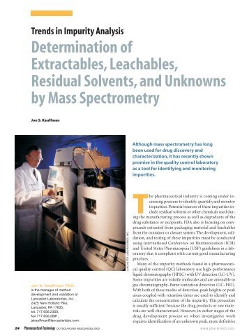Determination of Extractables,Leachables, Residual Solvents, and ...