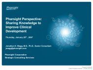 Sharing Knowledge to Improve Clinical Development. - Pharsight ...
