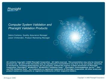 software validation - Pharsight Corporation