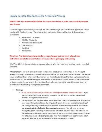 Legacy Desktop Floating License Activation Process - Pharsight