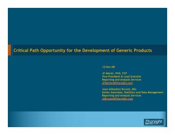 Critical Path Opportunity for the Development of Generic ... - Pharsight