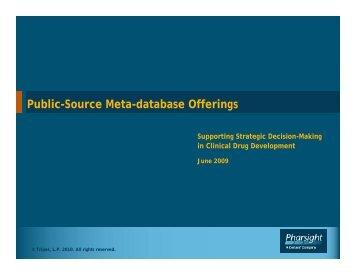 Public-Source Meta-database Offerings - Pharsight