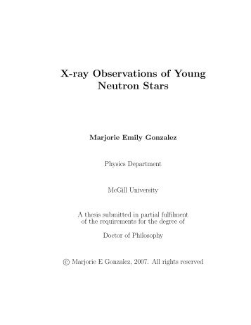 X-ray Observations of Young Neutron Stars - UBC Physics ...
