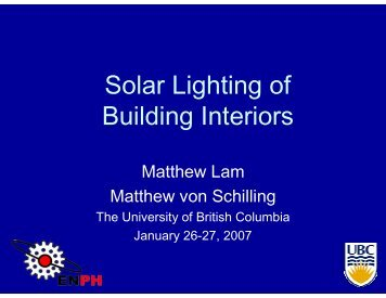 Solar Lighting of Building Interiors - UBC Physics & Astronomy ...