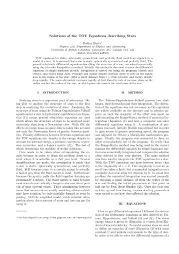 Physics 210 paper on the Tolman-Oppenheimer-Volkoff Hydrostatic ...