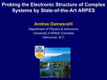 E - UBC Physics & Astronomy - University of British Columbia
