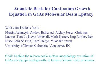 Atomistic Basis for Continuum Growth Equation in GaAs Molecular ...