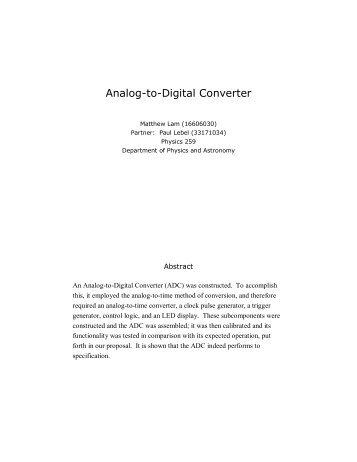 Analog-to-Digital Converter - UBC Physics & Astronomy