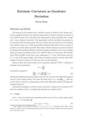Extrinsic Curvature as Geodesics Deviation