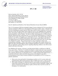Letter to NBSB from the ASPR