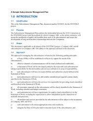 Sample Subcontractor Management Plan