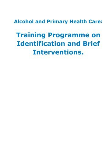 Training Programme on Identification and Brief Interventions.