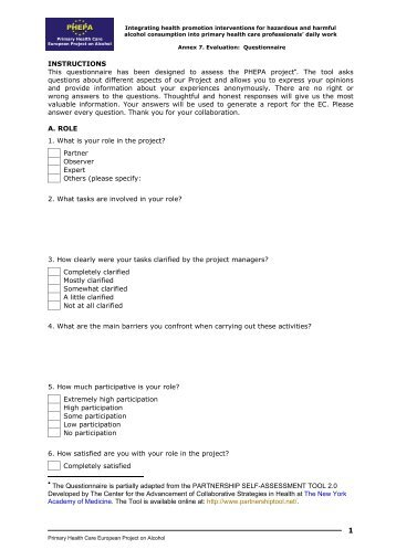 Annex 7. Evaluation: Questionnaire and Report