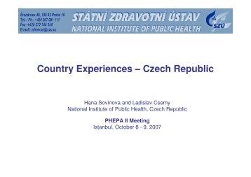 Country Report Czech Republic Hana Sovinova - PHEPA