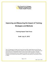 Improving and Measuring the Impact of Training - Public Health ...
