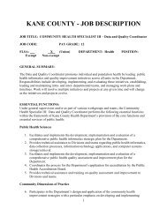 KANE COUNTY - JOB DESCRIPTION - Public Health Foundation