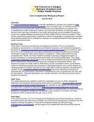 Core Competencies Workgroup Report - Public Health Foundation