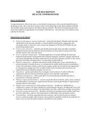 job description health commissioner - Public Health Foundation