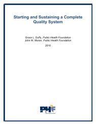 Starting and Sustaining a Complete Quality System - Public Health ...