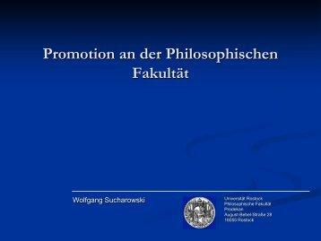 Promotion an der Philosophischen Fakultät