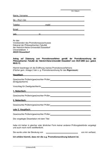Zulassung zur Promotion - Rigorosum - Philosophische Fakultät ...