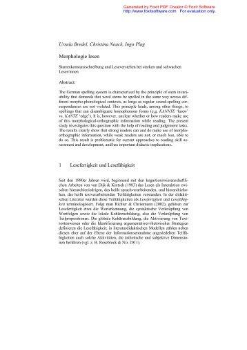 Morphologie lesen: Stammkonstanzschreibung und Leseverstehen ...