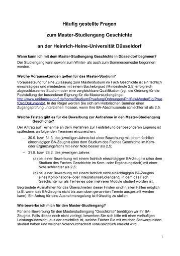 hufig gestellte fragen zum master studiengang geschichte an der - Uni Dsseldorf Bewerbung