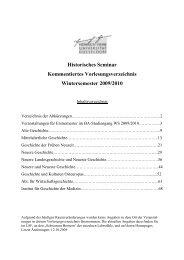 Historisches Seminar Kommentiertes Vorlesungsverzeichnis ...